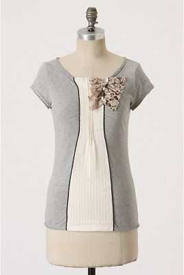 Make a knockoff of this t-shirt from Anthopologie - tutorial at Sisterhood of the Crafty Pants