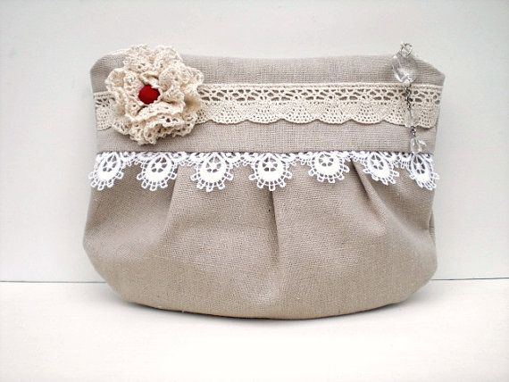Zippered pouch. Natural linen. Victorian shabby chic. White Venetian lace and…