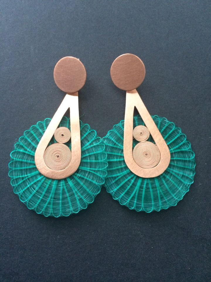 Earings copper and crin filigree