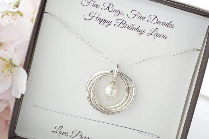 50th birthday gift for mom necklace 5 best friends
