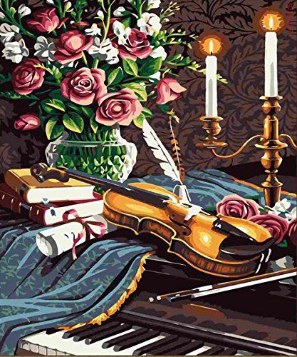 WOODEN FRAMED Diy oil painting paint by number kit Sound and Music 1620 inch >>> You can get more details by clicking on the image.