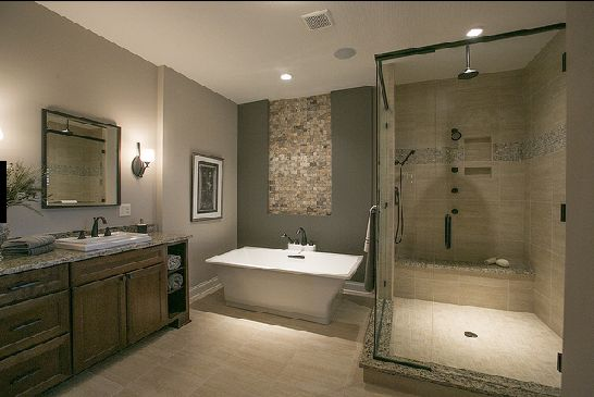 Master Bathroom Ideas With Freestanding Tub : Freestanding tub and glass shower with seat master bath