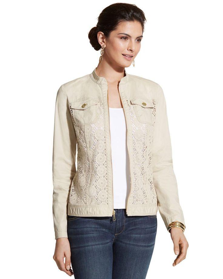Chico's Women's Crocheted Zip-Up Jacket,