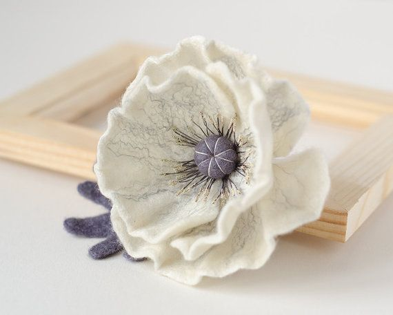 Hey, I found this really awesome Etsy listing at https://www.etsy.com/listing/228342261/white-flower-brooch-poppy-brooch-felt