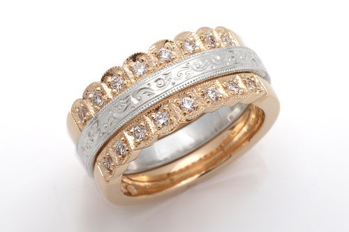 Isabella wedding band with Grace enhancers. CaiSanni