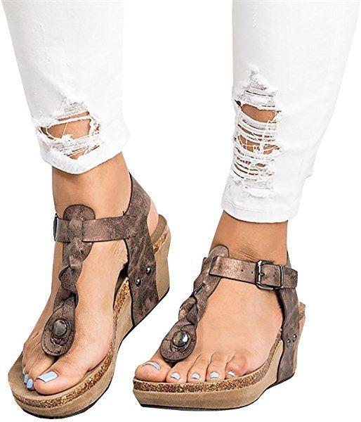 d16cff6f9eea3 Amazon.com | Womens Thong Braided T Strap Wedge Platform Cork Sole ...