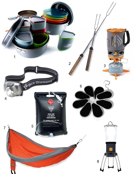 Camping Essentials: Camper Cookset from REI, Rolla Roasters, Jetboil, headlamp, solar shower, ipetal, doublenest hammock, led lantern