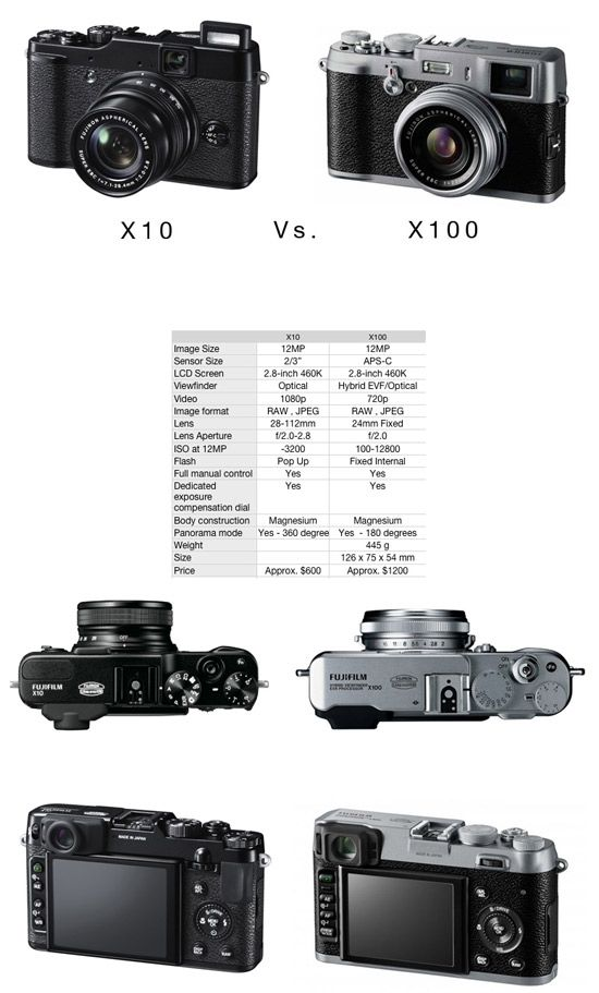 Fuji X10 vs. X100 camera comparison