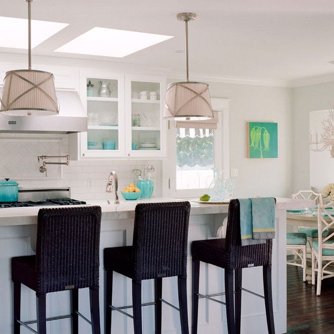 White And Turquoise Kitchen: White And Turquoise Kitchen, Lovely Airy Beachy Coastal