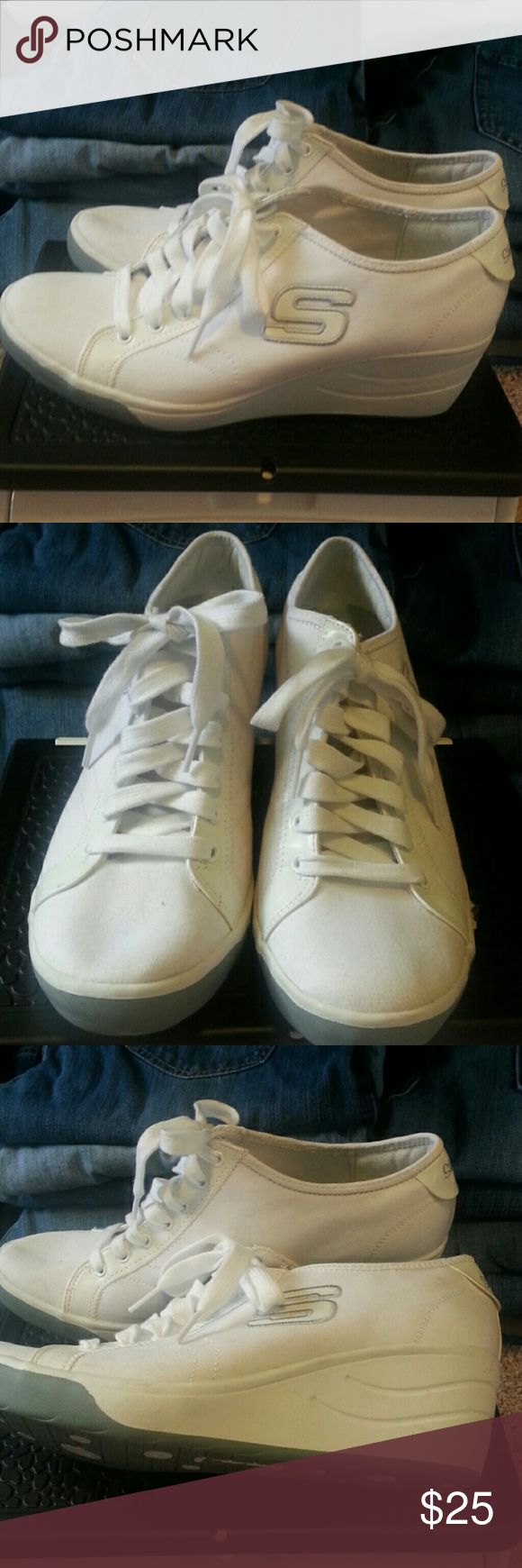 Skechers wedge sneakers white canvas women's 11 Skechers wedge sneakers white canvas women's size 11 good condition Skechers Shoes Sneakers