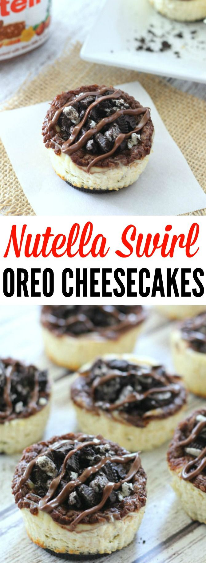 Miniature cheesecakes made with an Oreo crust, and a creamy cheesecake filling that's been swirled with a dollop of irresistible Nutella. They are topped off with more crushed Oreos and a drizzle of warm Nutella on top!