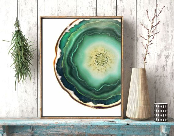 Geode Art Jade Green Agate Crystal Print Agate by twowhiteowls