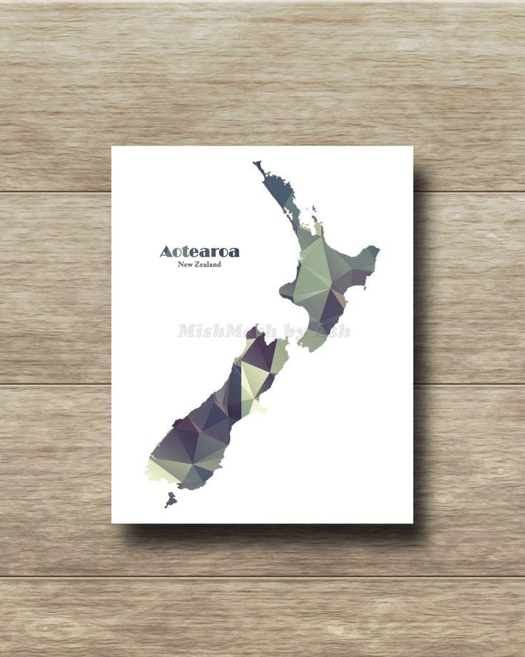 New Zealand Wall Art, Travel Art Print, Travel Decor, Polygon Art, Instant…