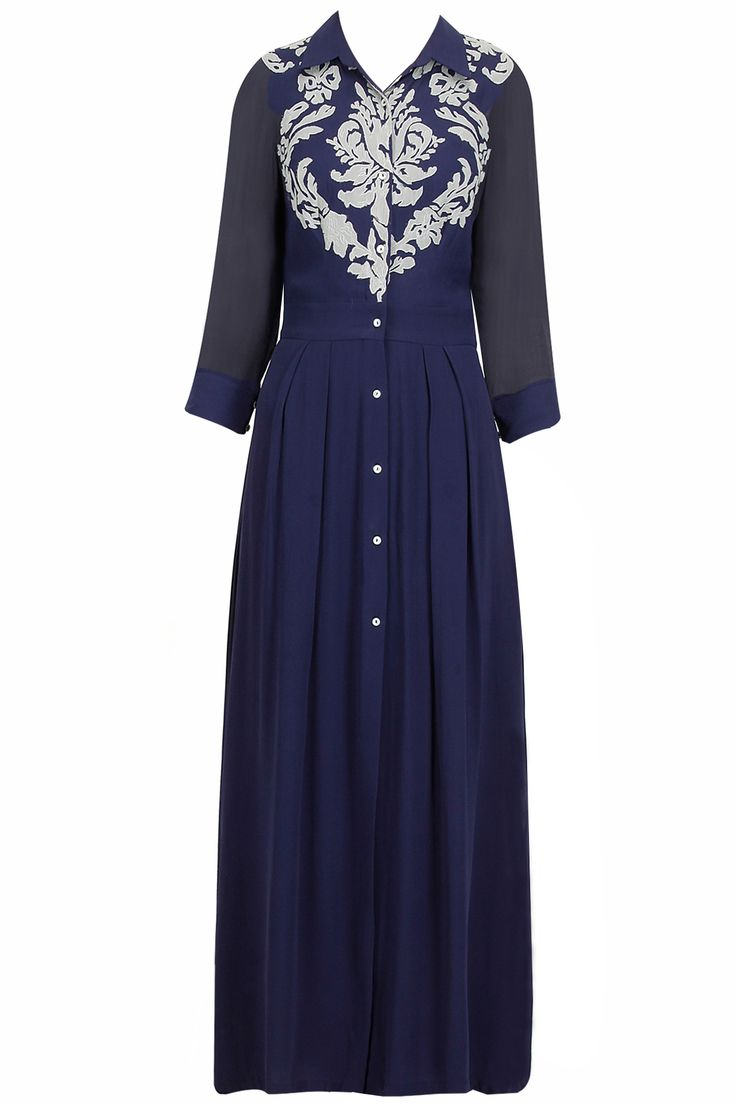 Navy applique work shirt maxi dress available only at Pernia's Pop-Up Shop.