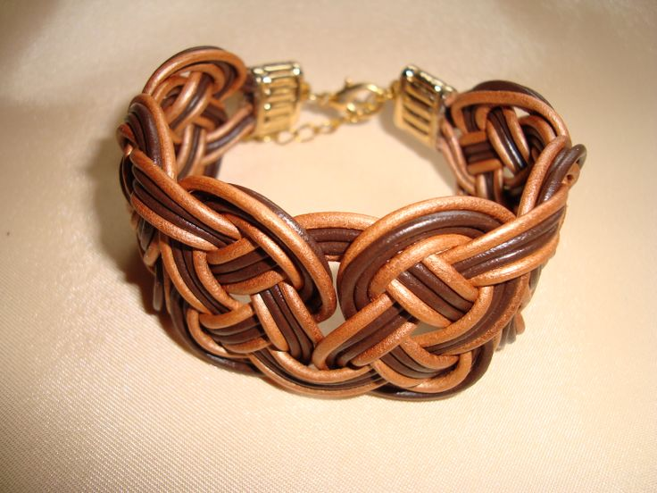 leather bracelet in gold and brown  https://www.facebook.com/pages/Handmade-Creations-by-Efi/187659788043676