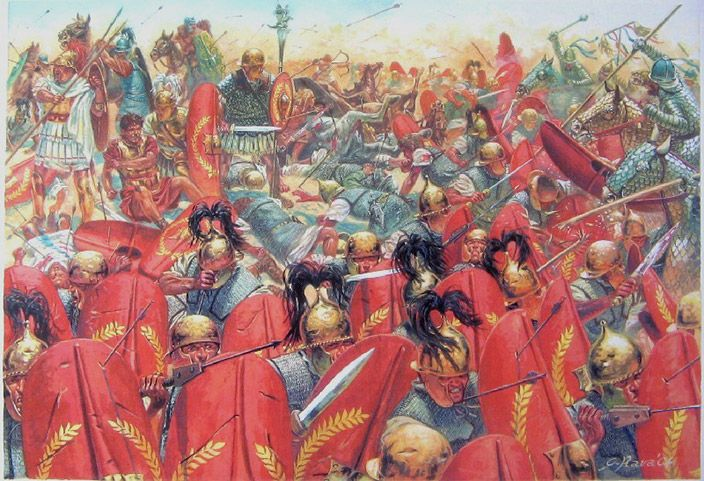 The Battle of Carrhae between the Parthian Empire and the Roman Republic in 53 BC. The Parthian Surena decisively defeated a Roman invasion force, led by Marcus Licinius Crassus. It was one of the most crushing defeats in Roman military history. ~ art by Giuseppe Rava *