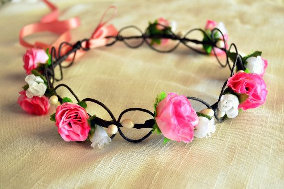 Floral Crown Woodland Crown Wedding Headband by MarianaHandmade, $44.00