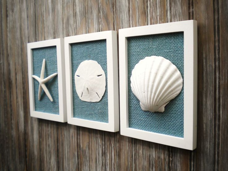 Cottage Chic Set of Beach Wall Art, Sea Shells Home Decor, Beach House Wall Decor, Sea Shell Art, Coastal Art, Pure White&Ocean Blue Burlap by OMearasCottageCharm on Etsy https://www.etsy.com/listing/210008436/cottage-chic-set-of-beach-wall-art-sea