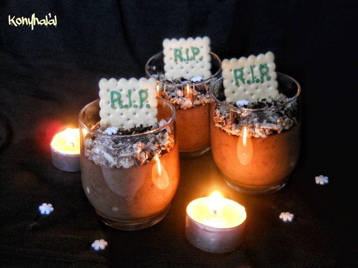 Csokipuding sírhant halloween food