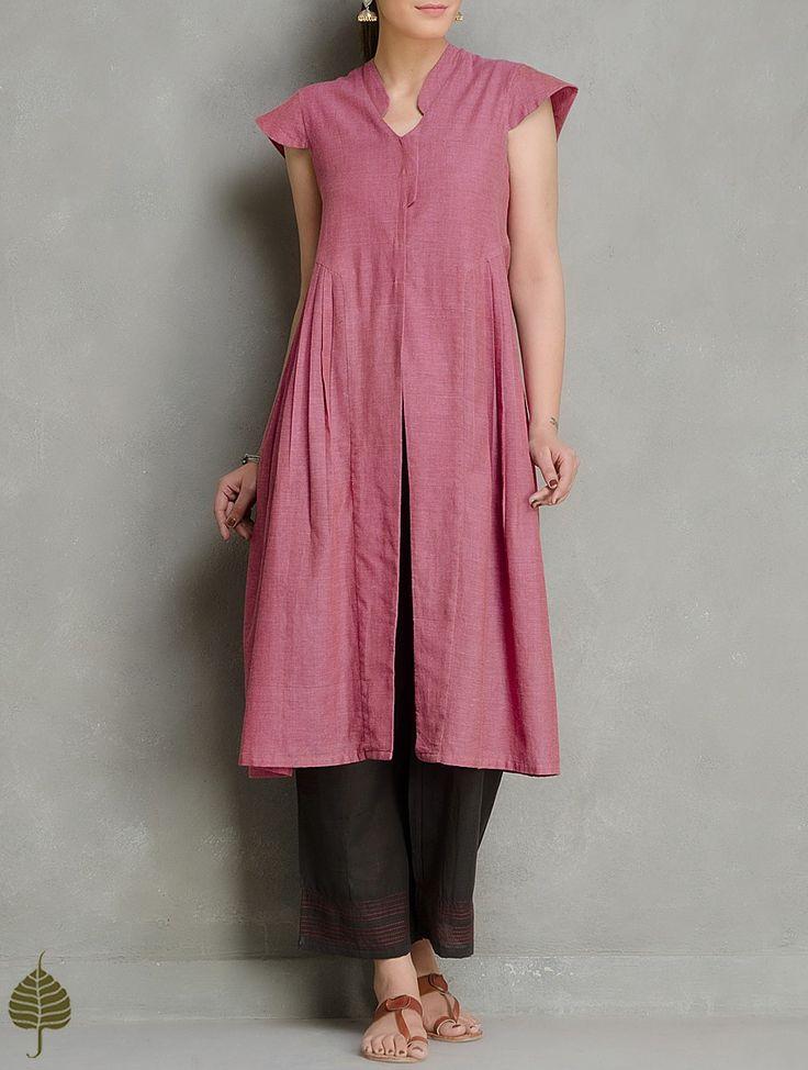 Buy Dark Pink Cotton Side Pleated Kurta by Jaypore Women Kurtas Online at Jaypore.com
