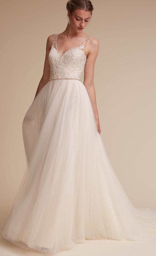Brautkleid mit ausgestelltem Rock, Tüll, romantisch, mit Spitze, Hochzeit