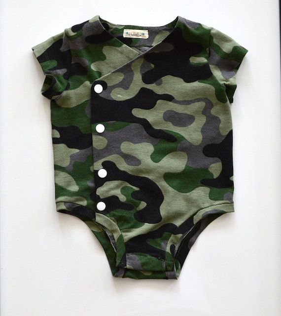 Camouflage Print Side Snap Onesie Body Suit Ready to by HudsonBlue