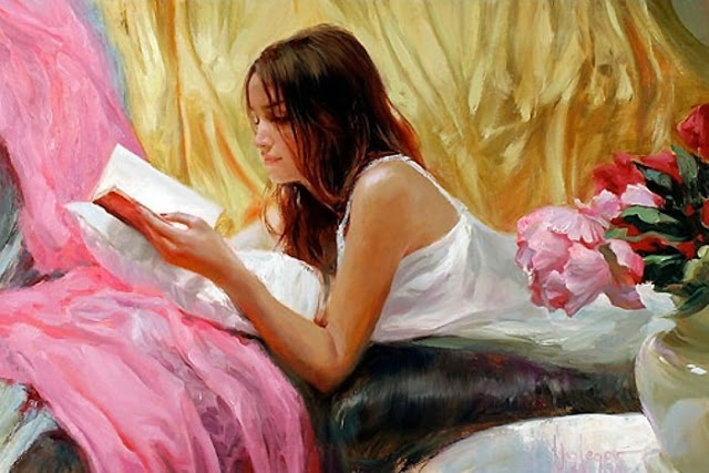 Vladimir Volegov painted this, but only once. She's read that book five times in the time it took him to paint her.