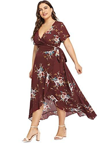 8048c3d726bd Amazing offer on Milumia Milumia Plus Size Short Sleeves Wrap V Neck Belted Empire  Waist Asymmetrical High Low Bohemian Party Maxi Dress online in 2018 ...