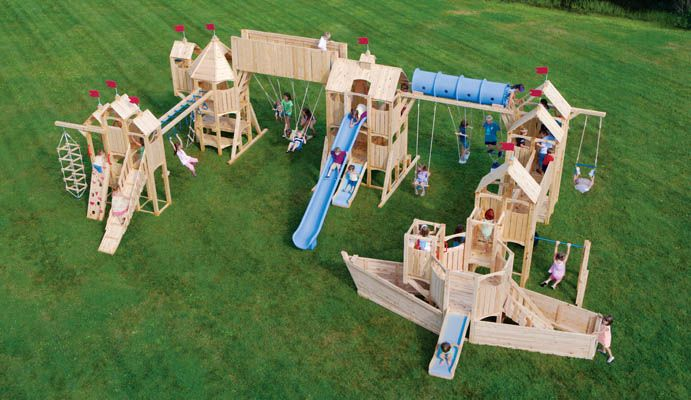 "Okay...this is the ""if I ever won the lottery"" swing set...this site has so many awesome play sets...but they don't list prices, so you have to imagine that they're off the charts...but how cool?"