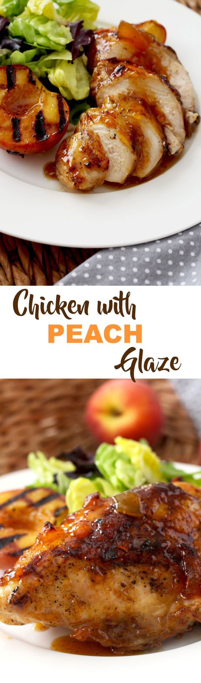 Sticky and sweet with a bit of spice this Chicken with Peach Glaze is easy to make and finger licking good! by Lemonblossoms.com