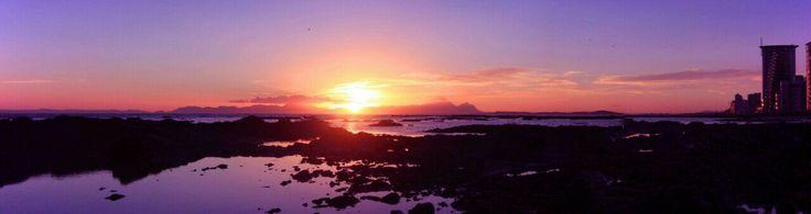 Panorama, strand, sunset, beach, helderberg, table mountain