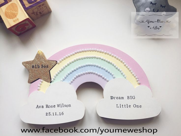 ⭐️Personalised Rainbow ⭐️  Freestanding pastel rainbow on clouds with a removable sparkly star. This can be personalised with the text of your choice and can also be made in different colours. Rainbow is 26.5cm wide and 15cm tall. #pastels #rainbow #newbabygift #personalisedgift