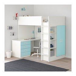 Loft Bed With 4 Drawers2 Doors Stuva Fritids White Light Blue