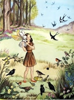 This little rabbit with wings was a favourite of my childhood. This illustration is from 'Pookie And The Swallows' by Ivy L. Wallace. Pookie lives with Belinda in Bluebell Wood......Belle and Boo, years down the line, seem to echo this same protective relationship that's so appealing.