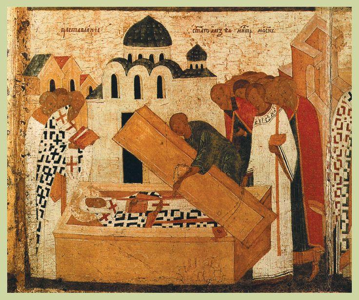 Конец XV в.  Дионисий.  Алексий Митрополит с житием.  Клеймо. Обретение мощей