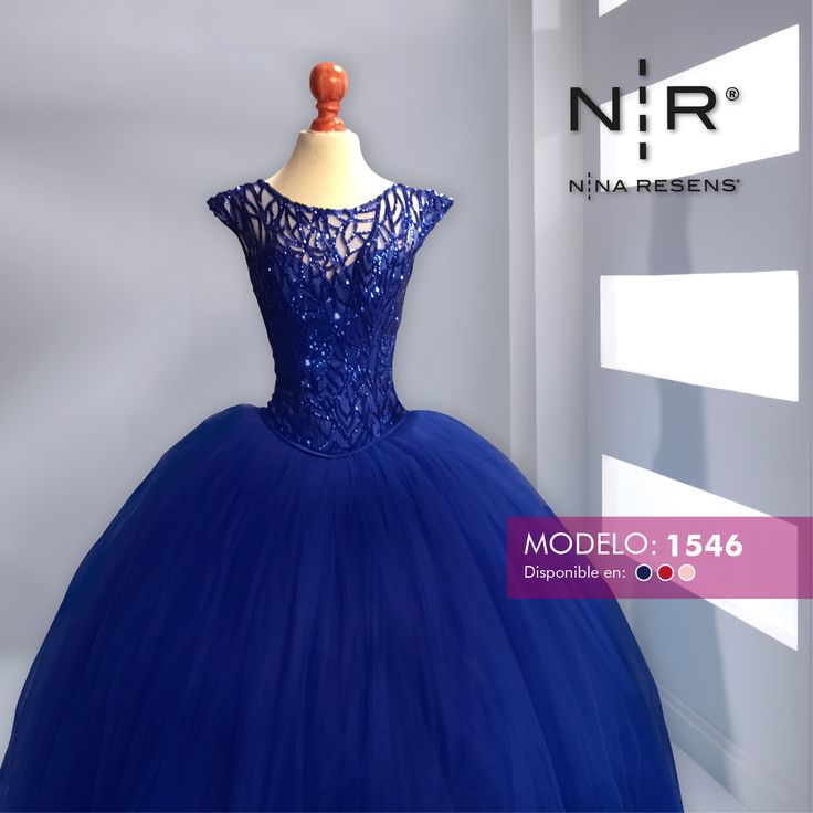 Mod. 1503 Es un vestido  con encaje bordado de importación. Colores: Rosa, Azul rey y Rojo #XvAños #Party #Dress