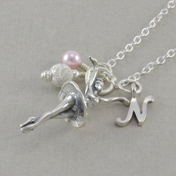 BALLERINA Necklace Sterling Silver Dancer by SixSistersBeadworks Six Sisters Beads Sister ballet jewelry for little girls custom made personalized sterling silver