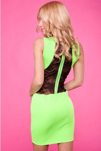 NEON GREEN LACE BACK FITTED PARTY DRESSBlack Lace, Fit Dresses, Party Dresses, Green Lace Dresses, Parties Dresses, Neon Green, Neon Dresses, Fit Parties, Lace Back