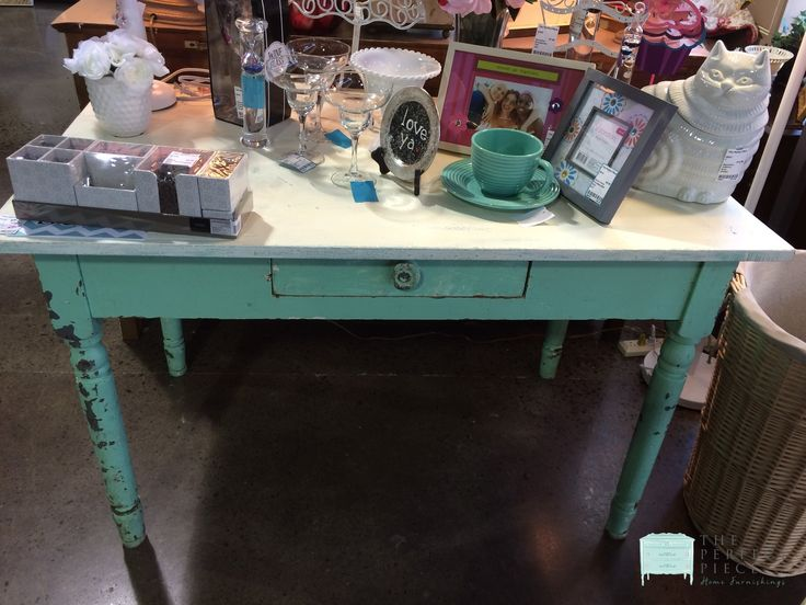 """Vintage Green & Cream Desk/Table If you are looking for a perfect work table, outside gardening table or small vintage desk, this is the piece for you!  This sturdy table measures 47"""" x 29"""" x 30"""". http://stores.myresaleweb.com/the-perfect-piece-home-furnishings/item/desk-work-table?id=49036"""