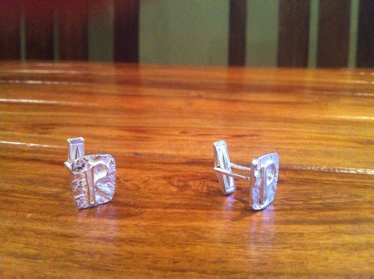Sterling silver cufflinks  Reticulated silver with monogram