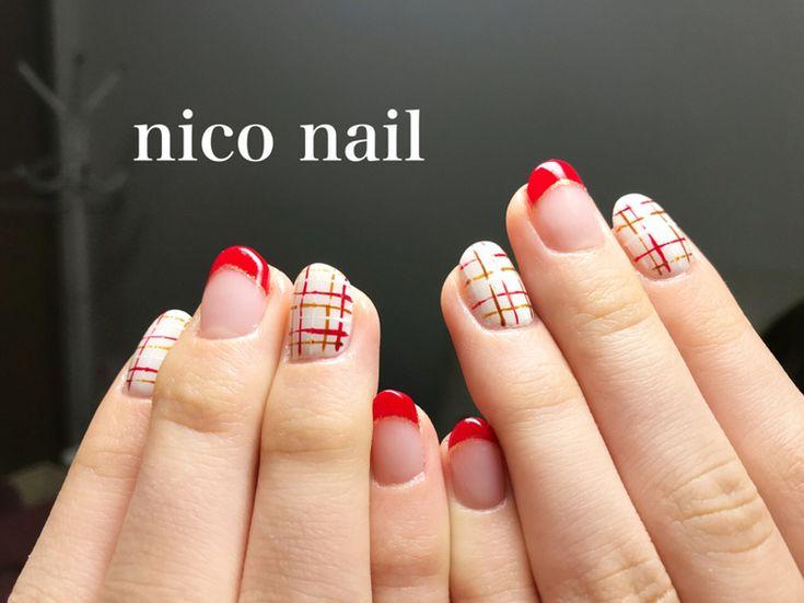 浜松市 中区 自宅ネイルサロン nico nail ニコネイル:キュートな赤フレンチとチェックネイル,可愛い組み合わせは気分もアップしますね!