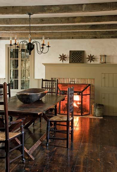 : Dining Rooms, Primitives Colonial Rooms, Primitives Rooms, Perfect Rooms, Farmhouse Living, Colonial Mantels, Farmhouse Interiors, Kitchens Fireplaces, Colonial Fireplaces