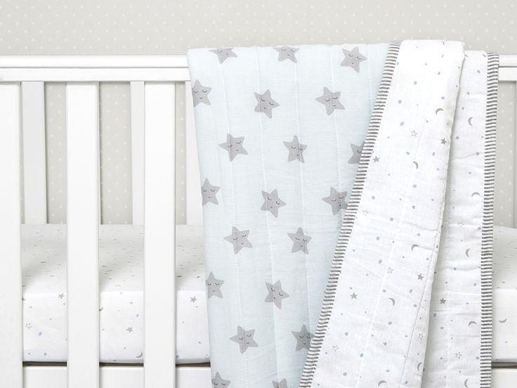 Sleepy Star Organic Cotton Baby Blanket, Baby Blanket, Organic Baby Blanket, Baby Shower Gift, Baby Boy Gift