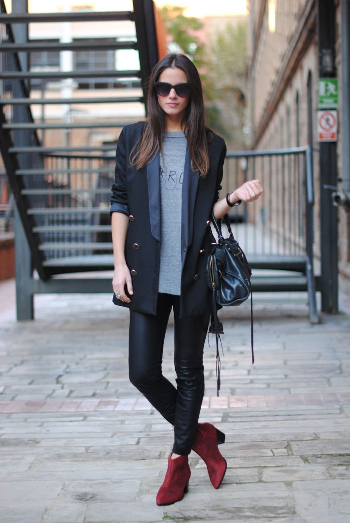 Leather pants, boyfriend blazer, colored ankle boots and a flowy Dolman #Sevenly shirt, YES!