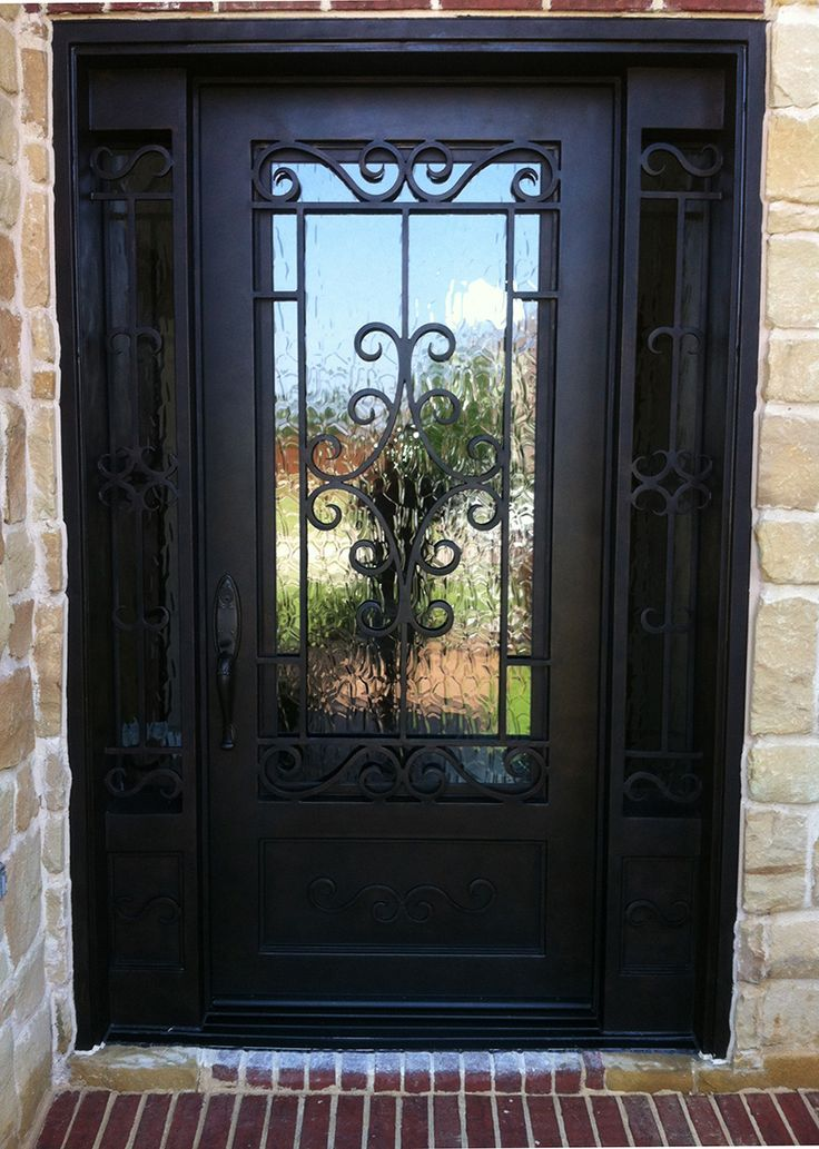 Signle door with sideligth with a lot of varity on the for Wrought iron front doors