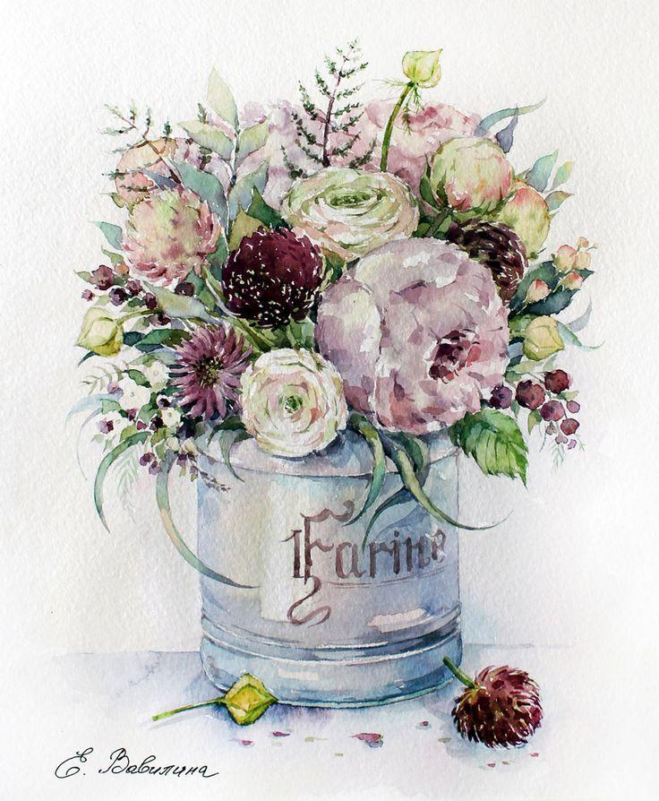 Цветы на открытках акварелью