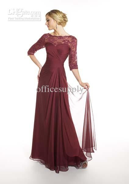Long Sleeved Burgundy Chiffon Mother of the Bride Dresses Gown with Lace Jacket 20967, $97.59 | DHgate.com