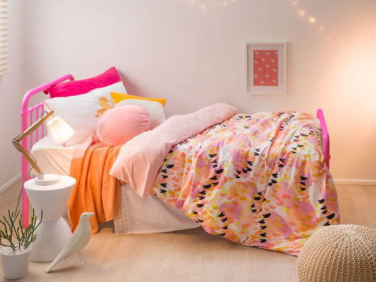 Mocka Sonata Bed is a vintage inspired bed that will add a contemporary pop of colour to your child's bedroom. Bedding from Little Yawn.