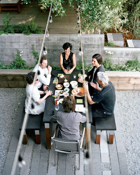 Modern outdoor dining patio with Modern Outdoor furniture