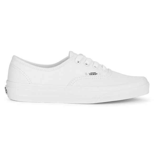 Vans Authentic Canvas Trainers - True White (250 QAR) ❤ liked on Polyvore featuring men's fashion, men's shoes, men's sneakers, shoes, white, mens white sneakers, mens low tops, mens woven shoes, mens shoes and mens metallic gold sneakers